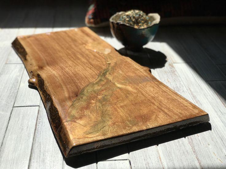 Charcuterie live edge board canadian walnut epoxy resin