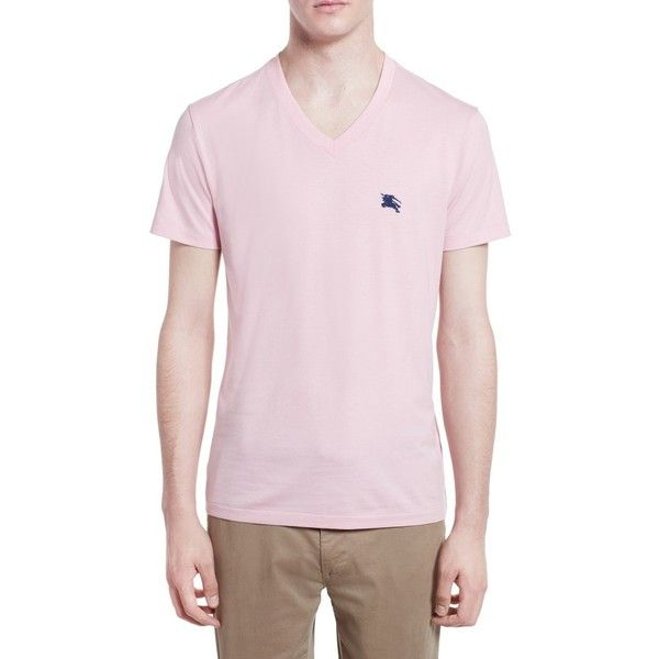 Men's Burberry Lindon Cotton T-Shirt (€95) ❤ liked on Polyvore featuring men's fashion, men's clothing, men's shirts, men's t-shirts, light pink, mens cotton shirts, mens cotton t shirts, mens t shirts, burberry mens t shirt and mens embroidered shirts