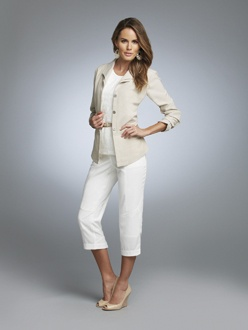 ALLURE 7    S13302  Peplum Jacket  Available in **Sand Melange, Off White Melange  Sizes: 2 - 18    S13317  Lace Tank  Available in *Off White, Salmon, Sand  Sizes: XS - XXL    S13304  Capri  Available in *Off White Melange, Sand Melange  Sizes: 2 - 18