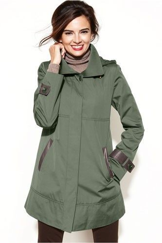 Ellen Tracy Hooded Faux-Leather-Trim Raincoat, $179.99, available at Macy's.