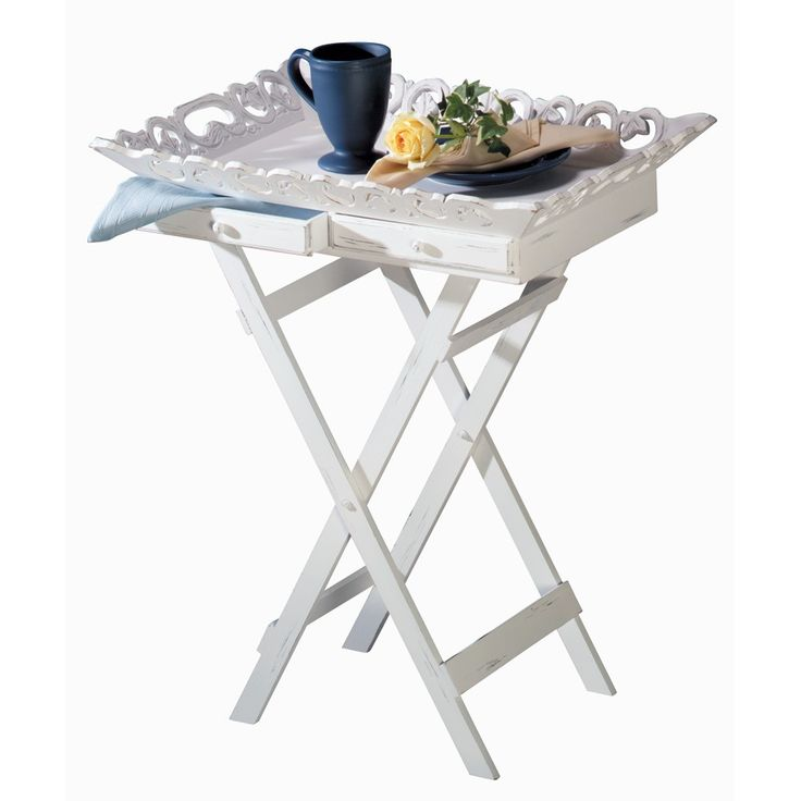Shabby Chic Tray End Table Decorative Tray Table Makes Gracious  Entertaining A Snap! Elegantly Aged