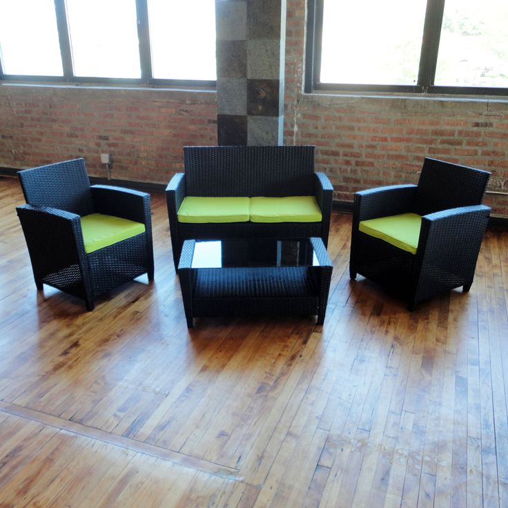 Pelican 4 Piece #Wicker #PatioFurniture Sofa Set   Available In Black Wicker  With Bright