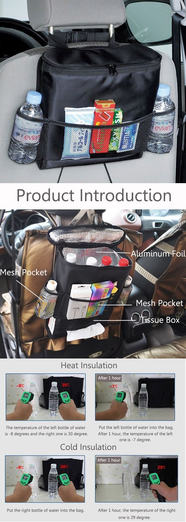 US$6.99 Car Seat Back Storage Bag Hot Cold Insulated Organizer Travel Hanger Pouch