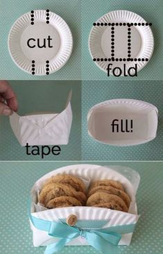 Comment faire un porte biscuit avec une assiette en carton ? #biscuits #boite #box #diy