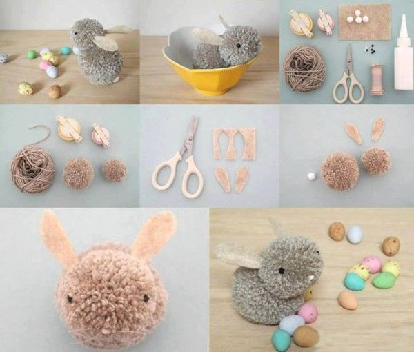 DIY Pom-Pom Easter Bunny - Find Fun Art Projects to Do at Home and Arts and Crafts Ideas