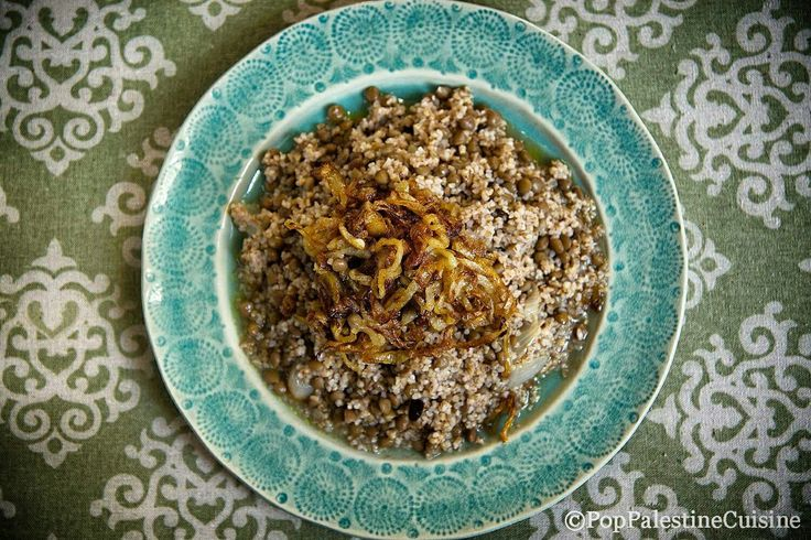 When rice was not yet known, in Palestine the carbohydrate used to prepare the dishes was burgul (broken grain). Mujjadarah's recipe can also be made with rice, but in the most original, the oldest recipe, the broken grain was used.