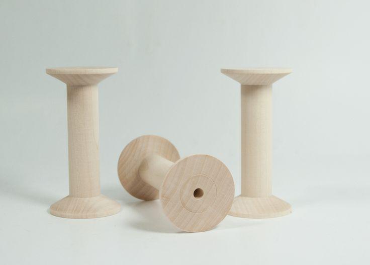 3 große, edle Holzspulen / Garnrollen aus Ahornholz