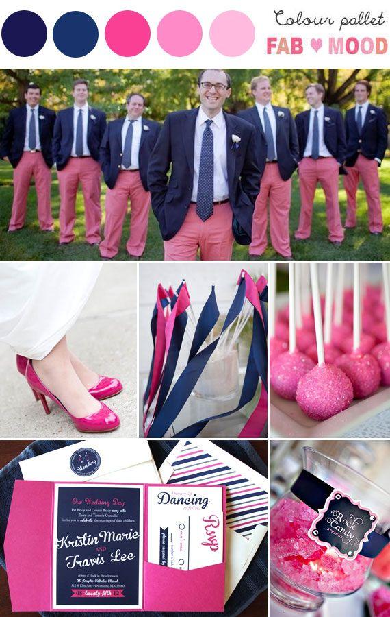 Love groom & groomsmen worn pink trousers! how sweet is that?navy pink wedding idea,navy pink wedding theme   fabmood.com