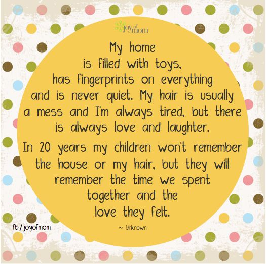 My home is filled with toys, has fingerprints on everything and is never quiet. My hair is usually a mess and I'm always tired, but there is always love and laughter. In 20 years my children won't remember the house or my hair, but they will remember the time we spent together and the love they felt.