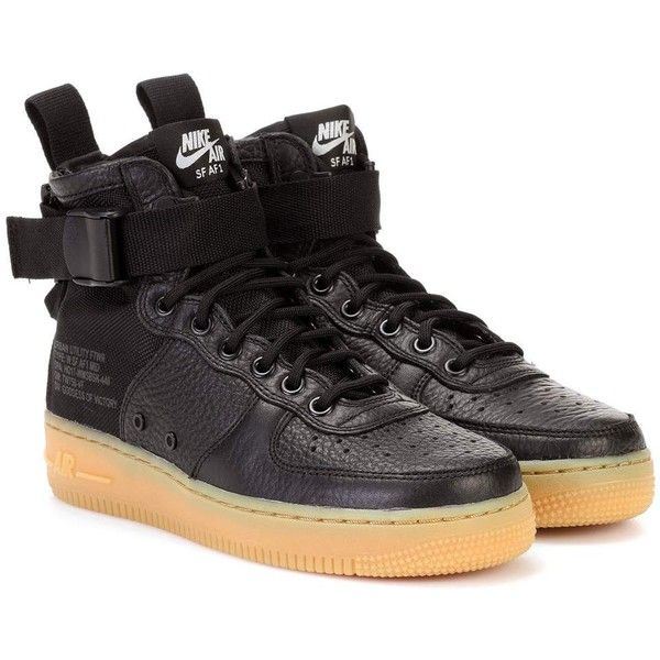 Nike Nike Air Force 1 Mid Sneakers ($175) ❤ liked on Polyvore featuring shoes, sneakers and black