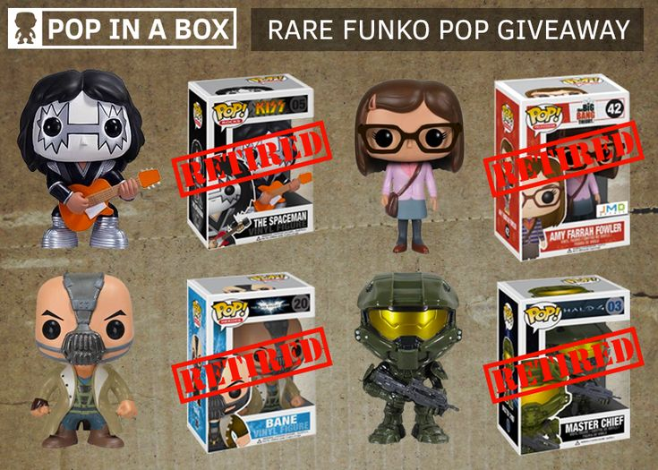 WIN 4 of these retired Funko Pop Vinyl Figures! The Spaceman, Kiss. Amy Farrah Fowler, The Big Bang Theory. Bane, Batamn - The Dark Knight Rises. Master Chief, Halo 4. Giveaway from PopInABox