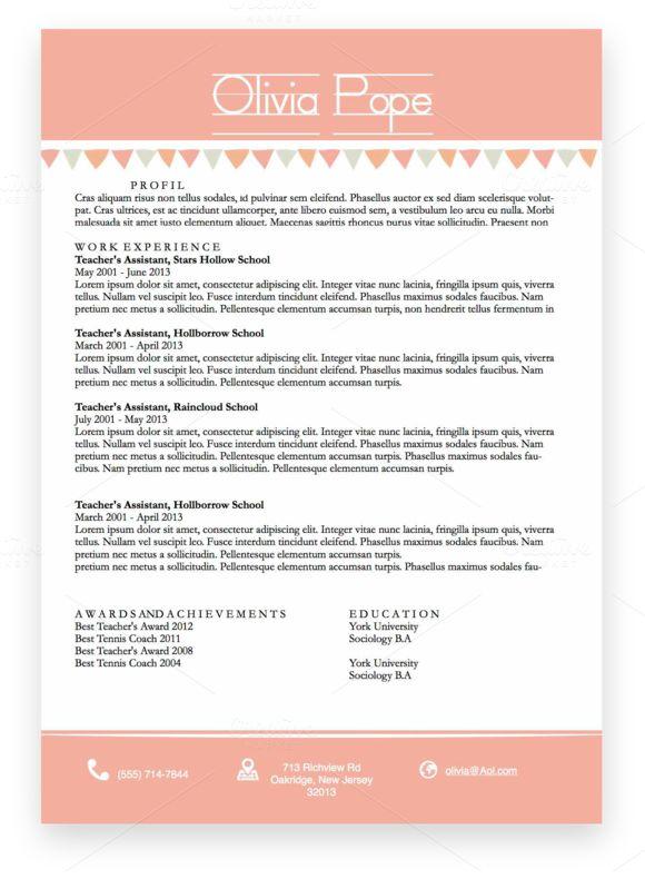 Pink Resume Template Docx CV by TrisshaTaylor on Creative Market - resume docx