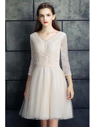 e77f7d561a4d Modest Plus Size White Lace 3/4 Sleeves Short Wedding Dress #MN035 ...