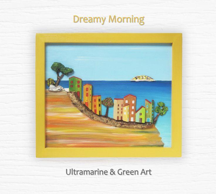 3D Textured Painting, Wood Wall Art, Reclaimed Wood Art, Mixed Media Art, Coastal Wall Hanging, Nautical Decor, Ocean Art, Mediterranean Art by UltramarineAndGreen on Etsy https://www.etsy.com/listing/233413143/3d-textured-painting-wood-wall-art