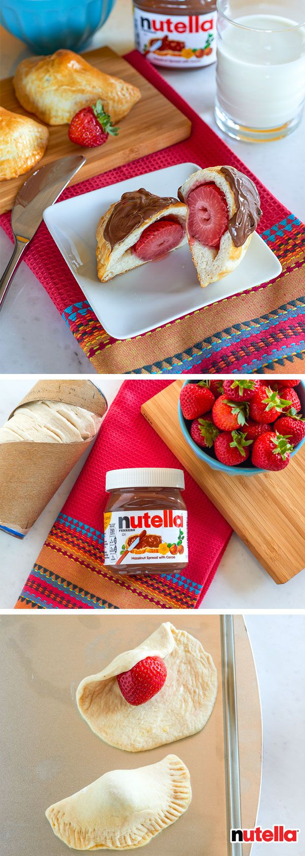 Introducing the new star of your breakfast: strawberry bites, featuring Nutella®. Place a strawberry on rolled-out pre-made biscuit dough. Fold to create a half-circle and bake as directed by the packaging. For a red-carpet-ready bite, finish with a spread of Nutella.