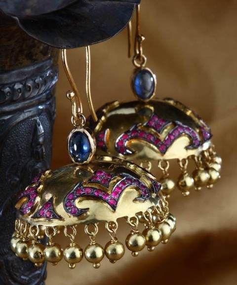 Ethnic-inspired contemporary jhumki - Ethnic-inspired contemporary jhumkis are studded with cabochon rubies in 18k gold.