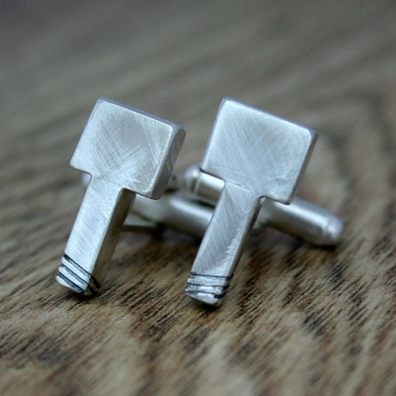 Thor's Hammer Cufflinks, Silver Cufflinks, Mythology, Norse Gods, Gift For Him, Wedding Present, Groom, Best Man, Geekery, Novelty
