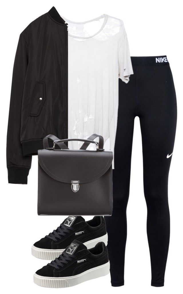 """Untitled #2595"" by theeuropeancloset ❤ liked on Polyvore featuring NIKE, Puma, Zara and The Cambridge Satchel Company"