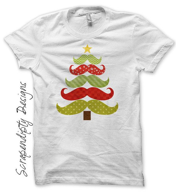 Iron on Christmas Shirt PDF - Mustache Tree Iron on Transfer / Mustache Christmas Tree Shirt / Cute Baby Christmas Outfit / Print by ScrapendipityDesigns, $2.50
