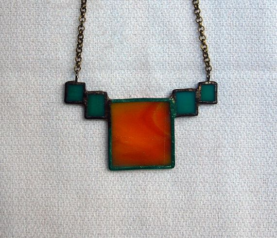 OOAK Stained Glass Necklace by 2glassygirls on Etsy, $24.00