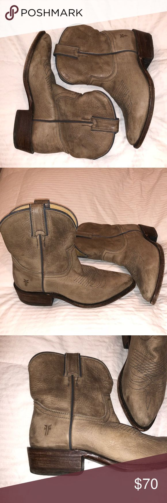 FRY COWBOY BOOTS Distressed leather cowboy boots. Lightly worn, love these boots because so cute & comfy but just don't have occasion to wear! From Frye brand so excellent quality leather. Frye Shoes Ankle Boots & Booties