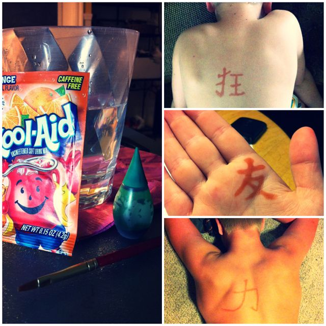 Homemade Henna tattoos! 1 packet orange Kool-Aid, 1 drop green food coloring, 1 cup water. Paint on, let sit for 1 minute, pat dry.