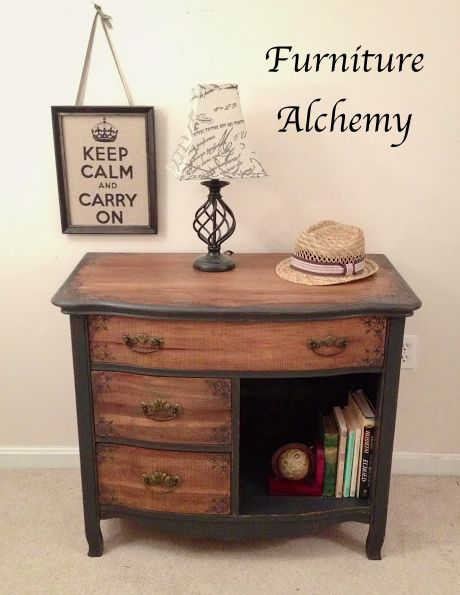 Hometalk :: Salvaged Thrift Store Dresser LOVE THIS. So clever, she flipped the top over, because the veneer was so badly damaged, I would never have thought of that.
