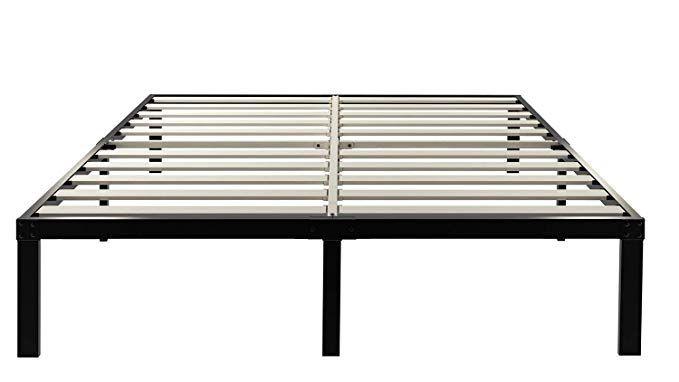 Ziyoo 14 Inch Wooden Slats Platform Bed Frame 3500lbs Heavy Duty Strengthen Support Mattress Foundation Quie Platform Bed Frame Wooden Slats Metal Bed Frame
