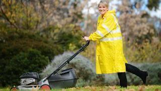 LOYAL: Vera Tarasenko mowed a lawn to keep a client. Picture: NAOMI JELLICOE • Victa rotary lawn mower • Australian icon