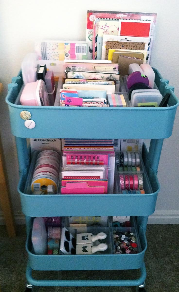 Organización y almacenamiento de materiales y herramientas de manualidades.