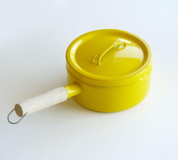 Seppo Mallat Arabia Finel Yellow Enamel Lidded Pot by belmodo