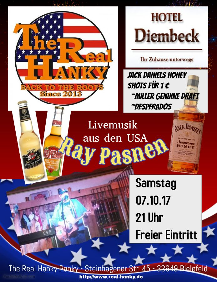 Ich spiele Samstag 07.10.2017 bei The Real Hanky (Hanky Panky) in Bielefeld! It's American night with Miller Genuine Draft, Desperados (regular price) and... Jack Daniels Tennessee Honey shots only 1 Euro! Freier Eintritt and great American food, drinks and atmosphere!  #Livemusik #Bielefeld im @TheRealHanky - 07.10.2017 21 Uhr - USA Night! Jack Daniels Honey only 1 Euro! Freier Eintritt! - http://go.shr.lc/2wASK2z  @RayPasnen from the #USA - Exciting live music by a renowned entertainer!