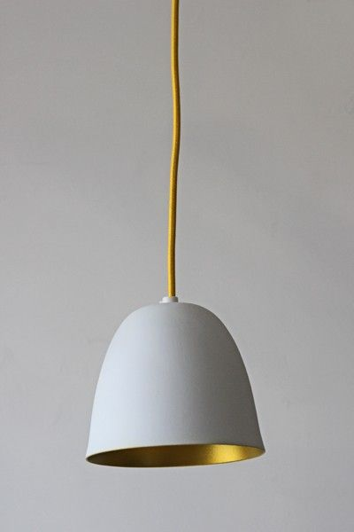 White Porcelain Ceiling Light with Gold Interior and Yellow Flex - Ceiling Pendant Lights - Lighting