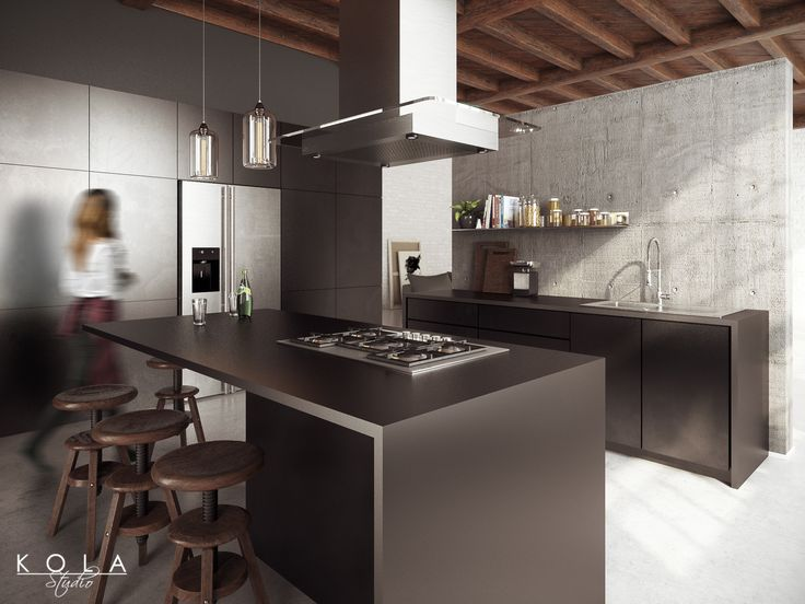 Image Result For Black Wall Kitchen