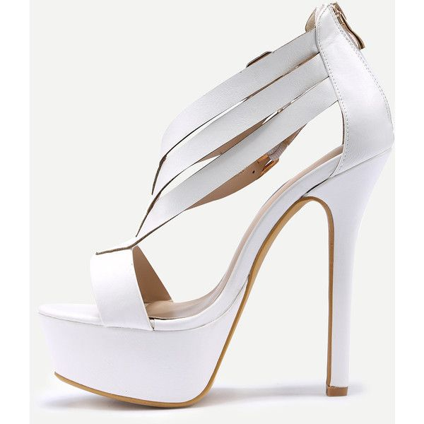 SheIn(sheinside) Double Ankle Strap Peep Toe Platform Sandals - White (79 RON) ❤ liked on Polyvore featuring shoes, sandals, ankle strap platform sandals, high heel sandals, white high heel shoes, platform shoes and white platform sandals