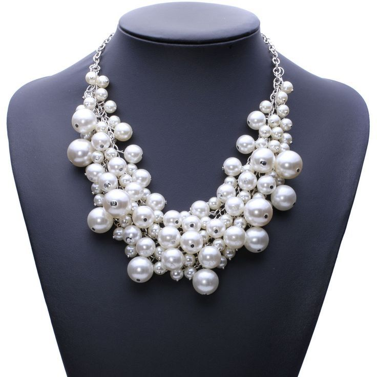 fashion chunky luxury bubble simulated pearl pendant choker Necklace statement jewelry for women
