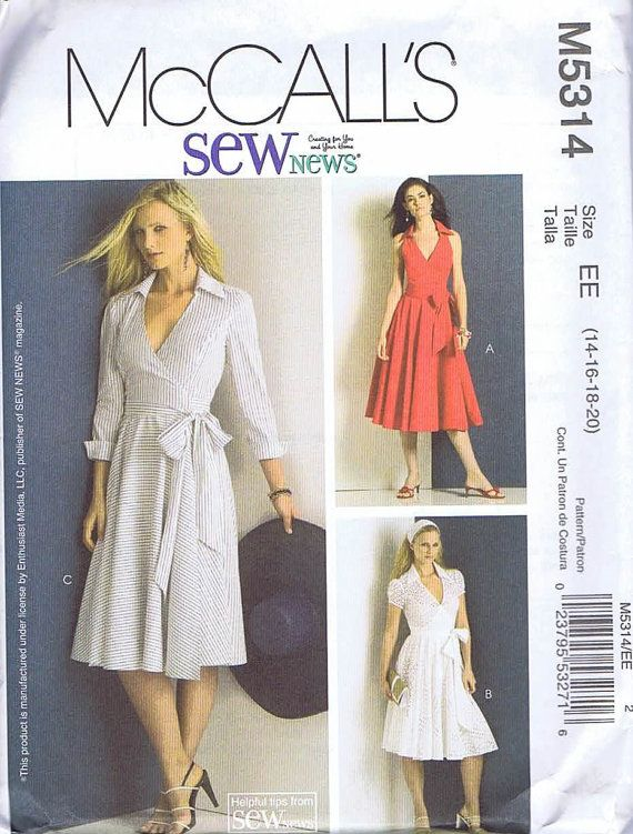 McCalls 5314 Misses Wrap Dress Sewing Pattern by SueannSoapnSew, $7.50