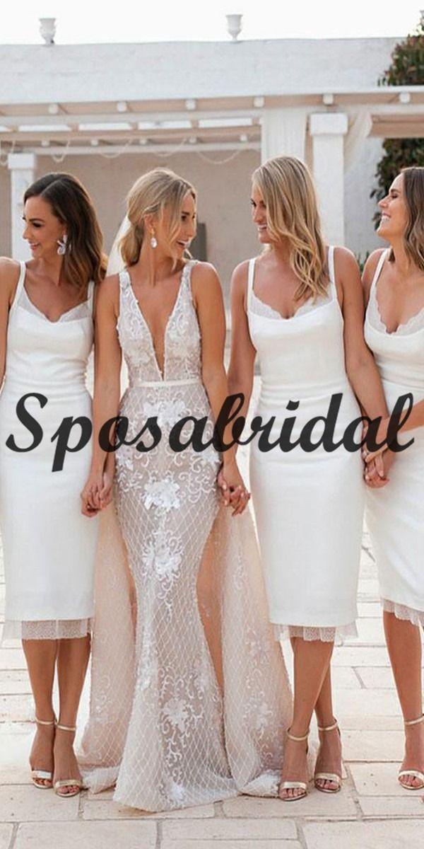 Short Mermaid Knee Length White Bridesmaid Dresses With Lace Wg727 In 2020 White Bridesmaid Dresses Bridesmaid Dresses Bridesmaid Dresses Long Blue