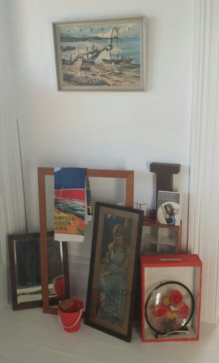 Frames and boxes at the studio.