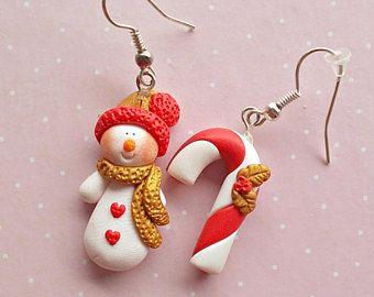 Christmas Dangle Earrings - Snowman Earrings - Red Gold Earrings - Heart Earrings - Snow Earrings - Winter Earrings - Festive Jewelry