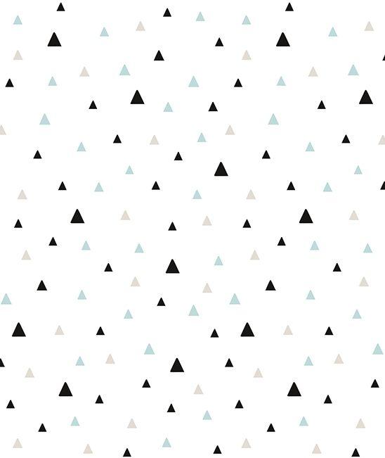 Papier peint géométrique triangle noir et turquoise Lilipinso Kimsa