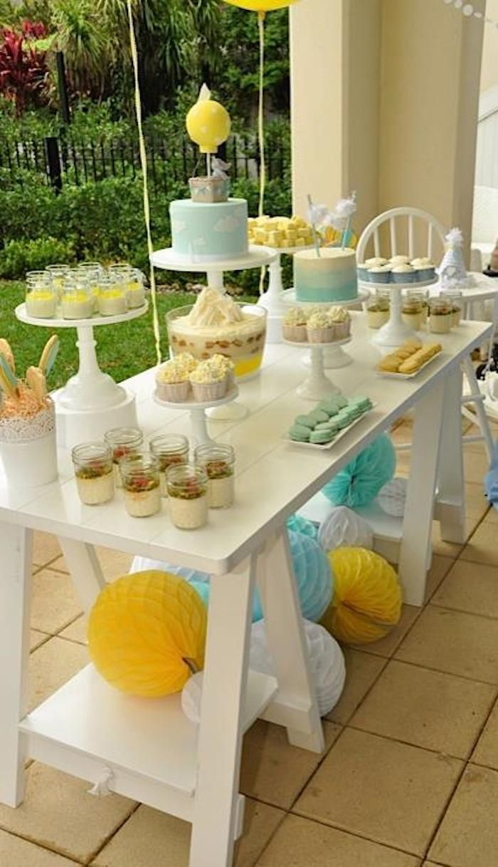 From kara s party ideas rustic dessert table display designed by - Hot Air Balloon Themed 1st Birthday Party With Lots Of Really Cute Ideas Via Kara S Party