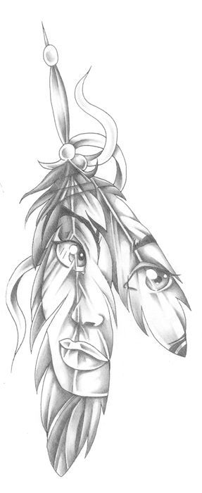 tattoo face in a feather native american indian style pretty: