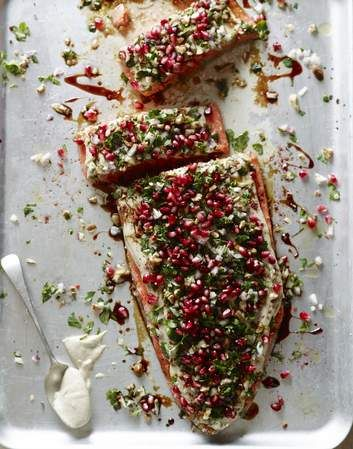 Salmon tarator with a sesame seed dressing and pomegranate seeds.