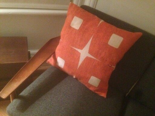 Cushion made from vintage curtain