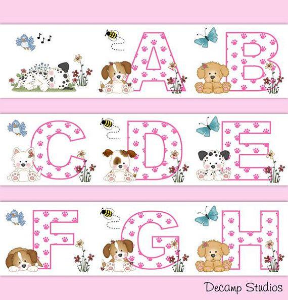 Puppy Nursery Border Decal Pink Alphabet Wall Art Baby Girl