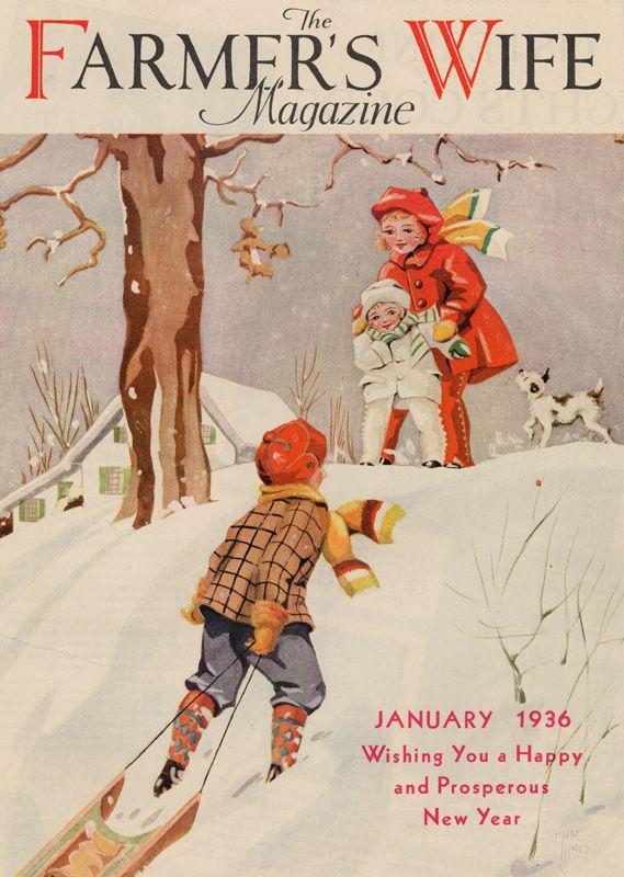 The Farmer's Wife Magazine, January 1936 Children sledding, vintage illustration.