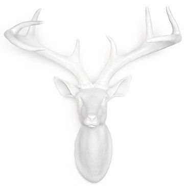 """Z Gallerie's exclusive White Deer Head brings the taxidermy tradition into the twenty-first century. Crafted of glossy White resin, the stately Deer is a bright contrasty accessory for your wall. Measures 15.75"""" x 7.75"""" x 17.75"""". Combine with our White Ram and Moose heads for a meeting of the minds.  Deer Head - Small 15.75""""$49.95"""