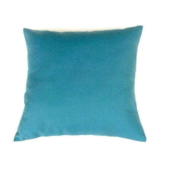 Teal Linen Pillow. Plain Teal Pillow. Teal Throw by OnHighat5