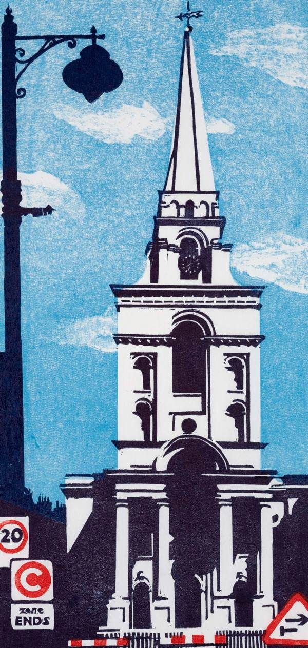 Christ Church Spitalfields, London by Mary Brooke, lino, via Spitalfields Life blog.